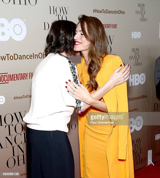 Producer Alexandra Shiva and actress Allison Williams attend How To Dance In Ohio premiere at Time Warner Center on October 19 2015 in New York City