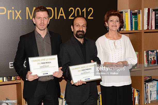 Producer Alexandre Mallet Guy, director Asghar Farhadi and European Commissioner for Culture Androulla Vassiliou during the presentation of the Media...