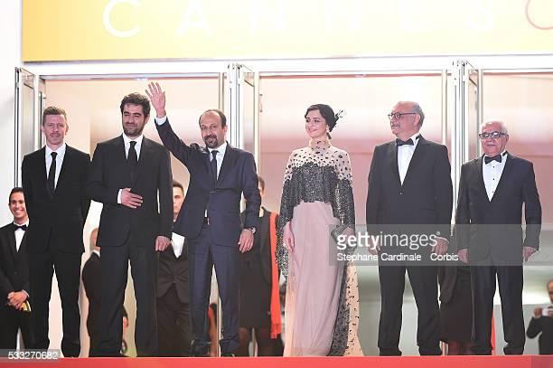 Producer Alexandre MalletGuy director Asghar Farhadi actor Shahab Hosseini actress Taraneh Alidoosti actor Babak Karimi and actor Farid...