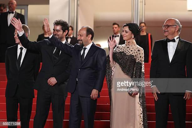 Producer Alexandre MalletGuy director Asghar Farhadi actor Shahab Hosseini actress Taraneh Alidoosti and actor Babak Karimi attend 'The Salesman '...