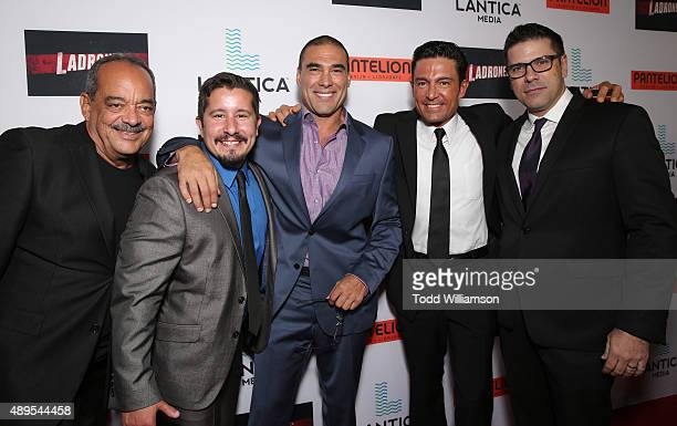 Producer Alfonso Rodriguez actor/writer Jon Molerio Euardo Yanez Fernando Colunga and Director Joe Menendez attend the Pantelion Films' Ladrones Los...