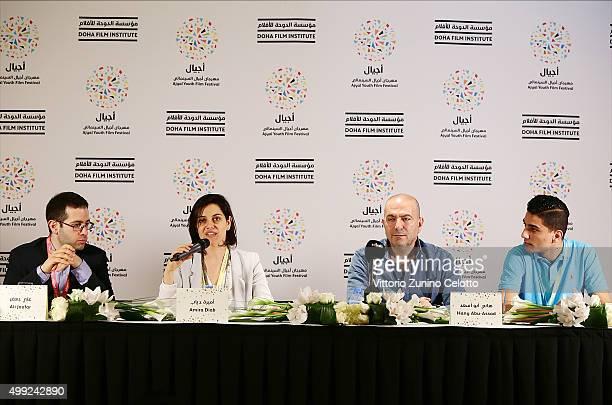 R Producer Ali Jaafar producer Amira Diab Academy Award nominated director Hany AbuAssad and Arab Idol winner Mohammed Assaf participate in The Idol...