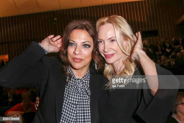 Producer Alice Brauner and Austrian actress and director Feo Aladag attend the Deutscher Hoerfilmpreis at Kino International on March 20 2018 in...