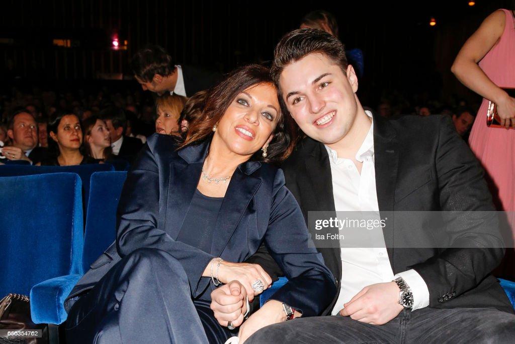 Producer Alice Brauner and her son David Brauner attend the Deutscher Hoerfilmpreis at Kino International on March 21, 2017 in Berlin, Germany.