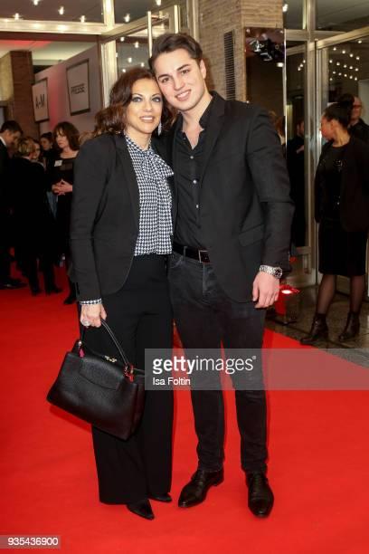 Producer Alice Brauner and her son David Zechbauer attend the Deutscher Hoerfilmpreis at Kino International on March 20 2018 in Berlin Germany