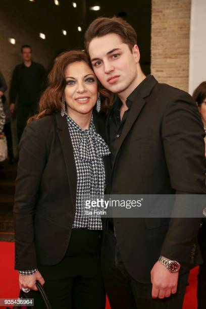Producer Alice Brauner and her son David Zechbauer attend the Deutscher Hoerfilmpreis at Kino International on March 20 2018 in Berlin Germany