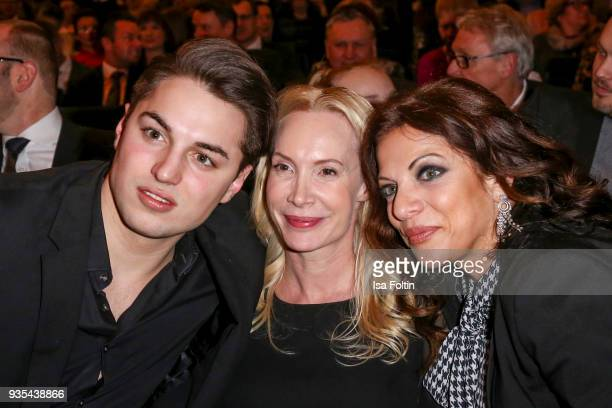 Producer Alice Brauner with her son David Zechbauer and Austrian actress and director Feo Aladag attend the Deutscher Hoerfilmpreis at Kino...