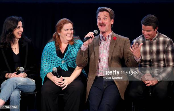 Producer Aline Brosh McKenna actor Donna Lynne Champlin actor Peter Gardner and actor David Hull participate in the 'Crazy ExGirlfriend 100th Song...