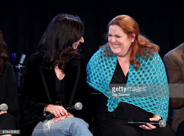 Producer Aline Brosh McKenna and actor Donna Lynne Champlin participate in the 'Crazy ExGirlfriend 100th Song Celebration SingaLong' during Vulture...