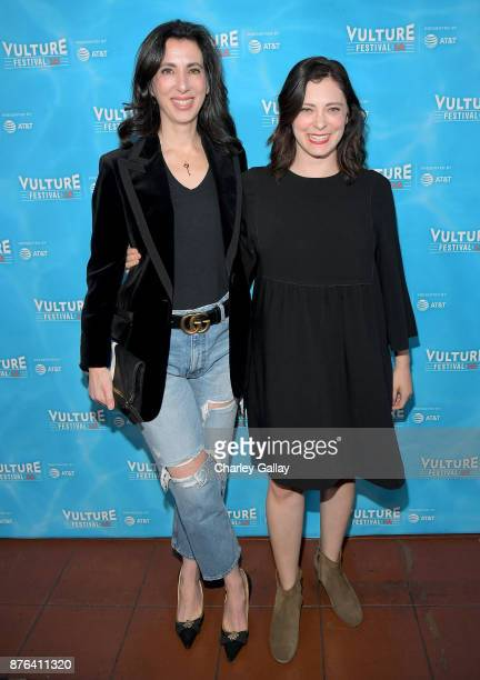 Producer Aline Brosh McKenna and actor Rachel Bloom attend the 'Crazy ExGirlfriend 100th Song Celebration SingaLong' event during Vulture Festival LA...