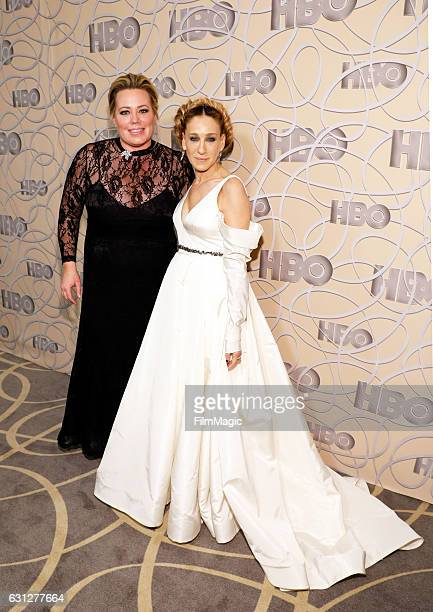 Producer Alison Benson and actress Sarah Jessica Parker attend HBO's Official Golden Globe Awards After Party at Circa 55 Restaurant on January 8...
