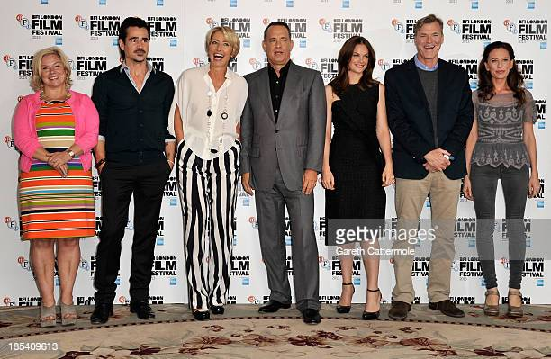 Producer Alison Owen actors Colin Farrell Emma Thompson Tom Hanks Ruth Wilson director John Lee Hancock and screenwriter Kelly Marcel attend the...