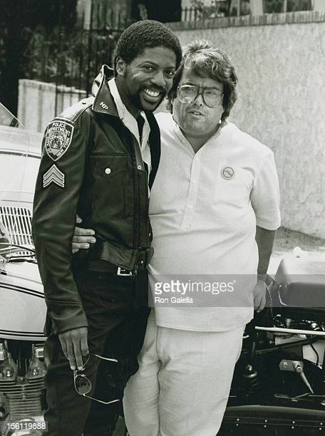 Producer Allan Carr and singer Ray Simpson of the Village People on location filming 'Can't Stop The Music' on September 12 1979 at Studio 1 at MGM...