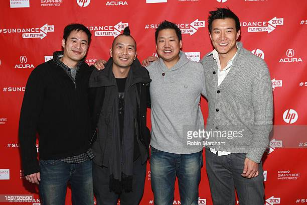 Producer Allen Lu director Evan Jackson Leong and producers Christopher Chen and Brian Yang attend the 'Linsanity' Premiere at The Marc Theatre...