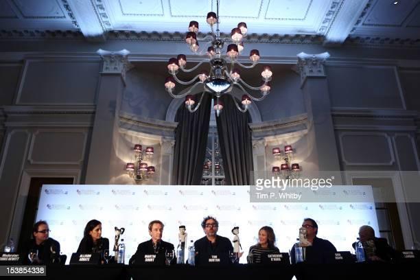 Producer Allison Abbate actor Martin Short filmmaker Tim Burton actress Catherine O'Hara producer Don Hahn and actor Martin Landau speak at the...