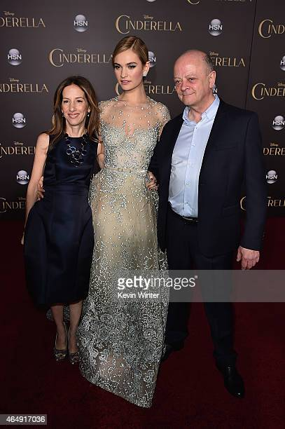 Producer Allison Shearmur actress Lily James and producer David Barron attend the premiere of Disney's 'Cinderella' at the El Capitan Theatre on...