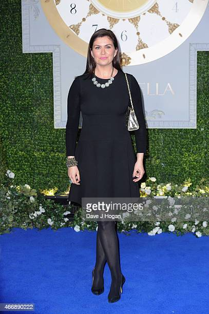 """Producer Amanda Lamb attends the UK Premiere of """"Cinderella"""" at Odeon Leicester Square on March 19, 2015 in London, England."""