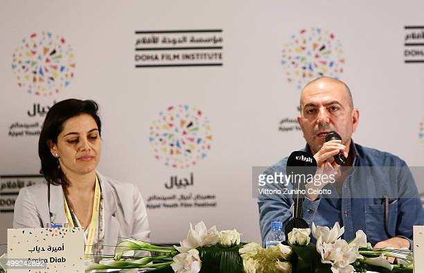 R Producer Amira Diab and Academy Award nominated director Hany AbuAssad participate in The Idol Press Briefing on Day 1 of the Ajyal Youth Film...