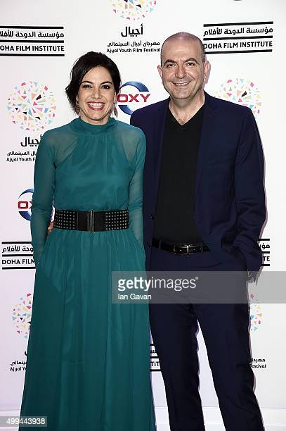 R Producer Amira Diab and director Hany AbuAssad on the red carpet at the regional premiere of ÔVery Big ShotÕ a new Lebanese film and Doha Film...