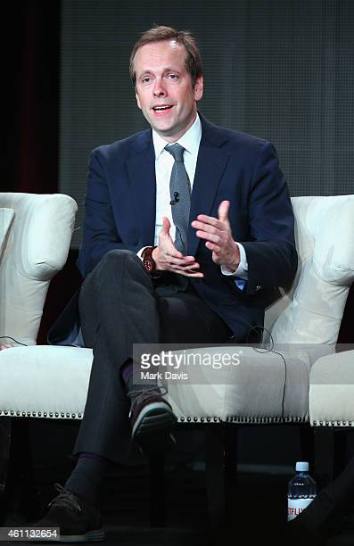 Producer and cowriter Robert Carlock speaks about the The Unbreakable Kimmy Schmidt during the Netflix TCA Press Tour at Langham Hotel on January 7...