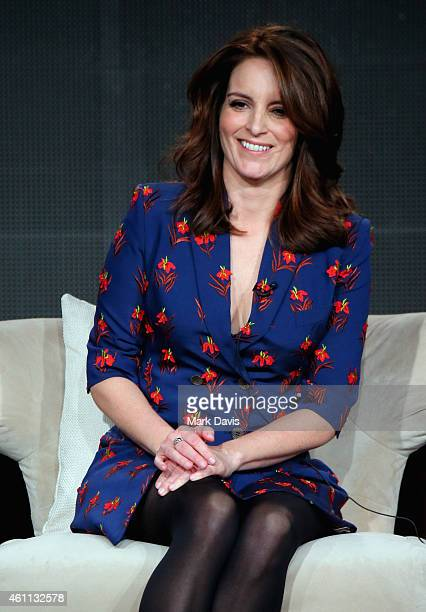 Producer and cowriter Tina Fey speaks about the 'The Unbreakable Kimmy Schmidt' during the Netflix TCA Press Tour at Langham Hotel on January 7 2015...