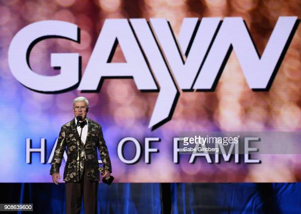 Producer and director Dirk Yates is inducted into the GayVN Hall of Fame during the 2018 GayVN Awards show at The Joint inside the Hard Rock Hotel...
