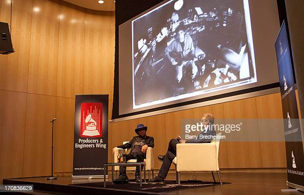 Producer and musician Daniel Lanois and Shure's Mark Brunner at the GRAMMY SoundTables Behind The Glass With Daniel Lanois at Shure Inc on June 18...