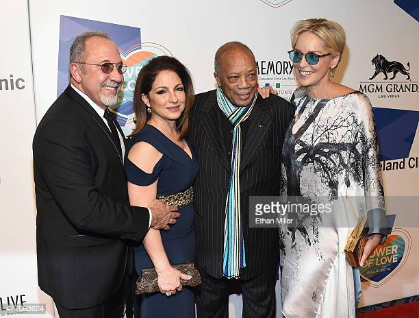 Producer and musician Emilio Estefan Jr., singer Gloria Estefan, record producer Quincy Jones and actress Sharon Stone attend the 19th annual Keep...