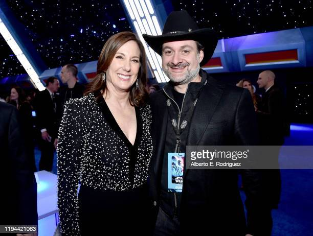 """Producer and President of Lucasfilm Kathleen Kennedy and Dave Filoni attend the World Premiere of """"Star Wars: The Rise of Skywalker"""", the highly..."""