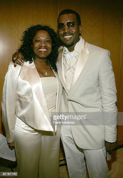 Producer and rapper Kanye West and his mother Donda West attend the Kanye West and Creative Artist Agency Foundation launch of the Kanye West...