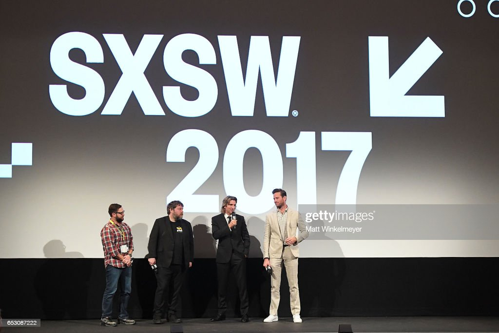 Producer and Senior Programmer Jarod Neece, director Ben Wheatley, actors Sharlto Copley, and Armie Hammer speak onstage during the 'FREE FIRE' premiere 2017 SXSW Conference and Festivals on March 13, 2017 in Austin, Texas.