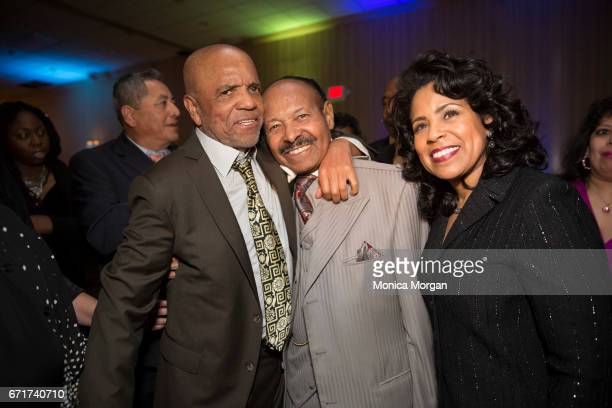 Producer and Songwriter Berry Gordy O'Neil Swanson and Linda Swanson of Swanson Funeral Home attend 'Motown the Musical' at The Fisher Theatre on...
