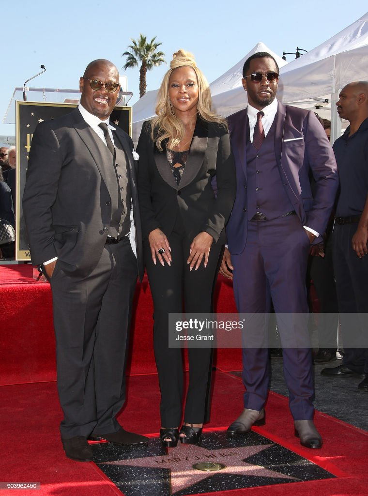 Producer Andre Harrell, recording artist Mary J. Blige and producer Sean 'Diddy' Combs attend the ceremony honoring Mary J. Blige with a Star on The Hollywood Walk of Fame on January 11, 2018 in Hollywood, California.