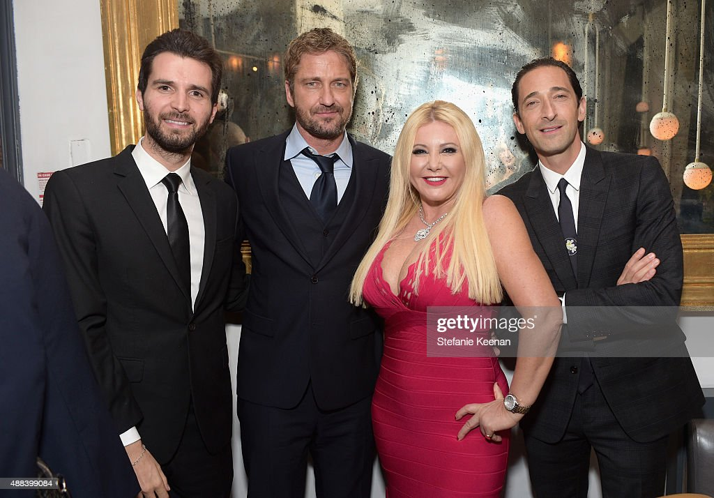 Producer Andrea Iervolino, actor Gerard Butler, producer Monika Bacardi and actor Adrien Brody attend the Septembers of Shiraz TIFF Party Hosted By GREY GOOSE Vodka at Byblos on September 15, 2015 in Toronto, Canada.