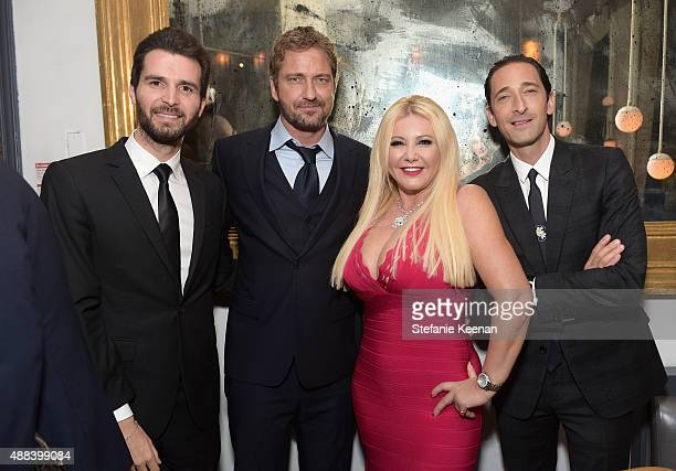Producer Andrea Iervolino actor Gerard Butler producer Monika Bacardi and actor Adrien Brody attend the Septembers of Shiraz TIFF Party Hosted By...