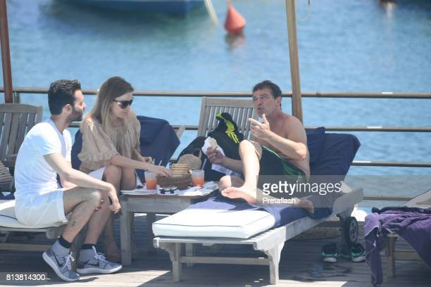 Producer Andrea Iervolino Antonio Banderas and Nicole Kimpe are seen on July 13 2017 in Ischia Italy