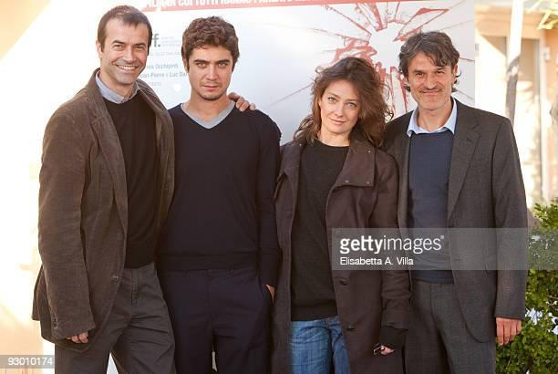 Producer Andrea Occhipinti actors Riccardo Scamarcio Giovanna Mezzogiorno and director Renato De Maria attend 'La Prima Linea' photocall at Bernini...