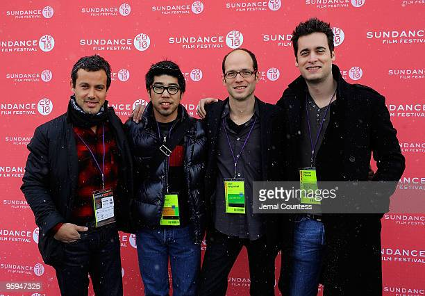 Producer Andrew Lauren Sales Rep Kevin Iwashina Director Jason SpingarnKoff and Producer Stephan Paternot pose at the Life 20 Premiere at Library...
