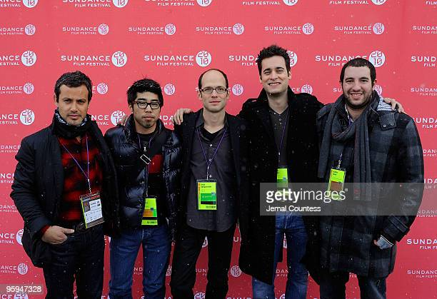 Producer Andrew Lauren Sales Rep Kevin Iwashina Director Jason SpingarnKoff CoProducer Stephan Paternot and Producer Jonathan Shukat pose at the Life...