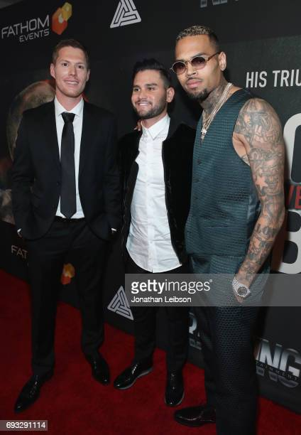 Producer Andrew Listermann Director Andrew Sandler and singer Chris Brown attend the Premiere Of Riveting Entertainment's Chris Brown Welcome To My...