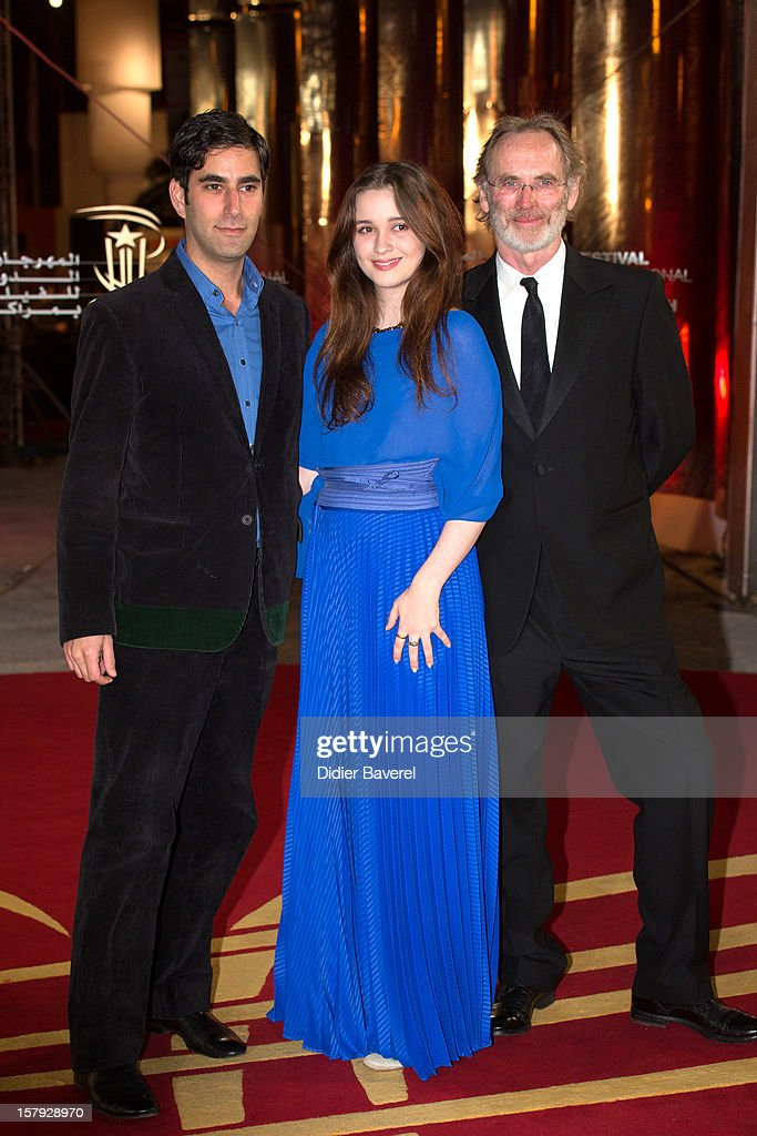 Producer Andrew Litvin (L), new zealander actress Alice Englert, Jane Campion's daughter and producer Christopher Sheppard (R) attend the 12th International Marrakech Film Festival on December 7, 2012 in Marrakech, Morocco.