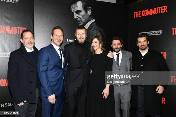 Producer Andrew Rona Patrick Wilson Liam Neeson Vera Farmiga director Jaume ColletSerra and producer Alex Heineman attend 'The Commuter' New York...