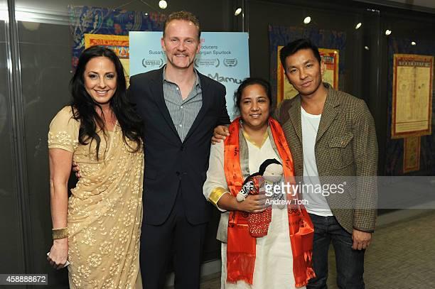 Producer Angela Bernhard producer Morgan Spurlock social worker Pushpa Basnet and designer Prabal Gurung attend the 'Waiting For Mamu' Screening and...