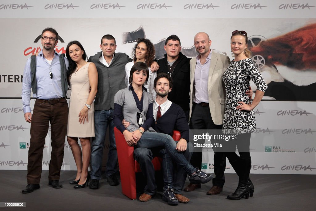 Producer Angelo di Guardia, actors Narimen Cardia, Enrico Toscano, Maria Benkhalouk, Marco Pagliaro, Sami Ibraim and producer Esther Stangle (front row) Actress Elisa Pennisi and director Joel Stangle attend the 'Acqua Fuori Dal Ring/La Prima Legge Di Newton' Photocall during the 7th Rome Film Festival at the Auditorium Parco Della Musica on November 14, 2012 in Rome, Italy.