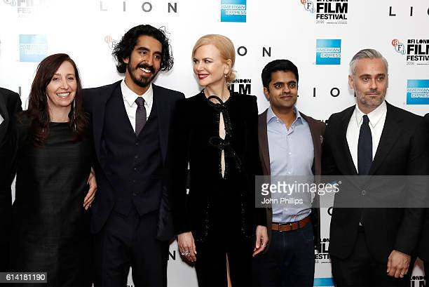 Producer Angie Fielder actors Dev Patel Nicole Kidman Divian Ladwa and producer Iain Canning attend the 'Lion' American Express Gala screening during...