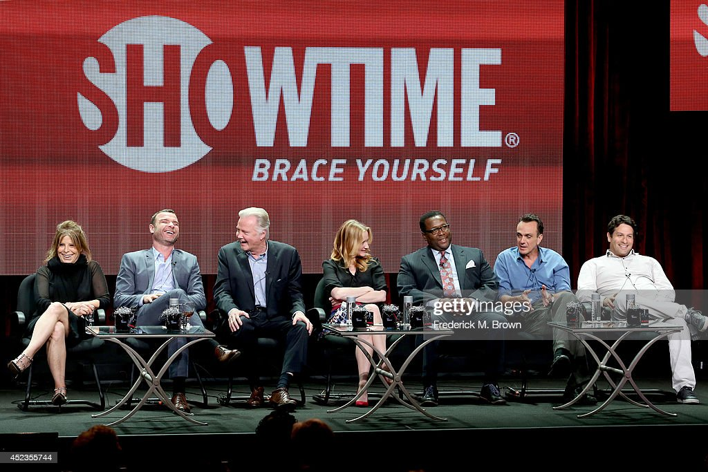Producer Ann Biderman and actors Liev Schreiber, Jon Voight, Paula Malcomson, Wendell Pierce and Hank Azaria, and producer Bryan Zuriff speak onstage at the 'Ray Donovan' panel during the SHOWTIME Network portion of the 2014 Summer Television Critics Association at The Beverly Hilton Hotel on July 18, 2014 in Beverly Hills, California.