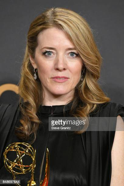 Producer Annabel Jones winner of the award for Outstanding Television Movie for 'Black Mirror' poses in the press room during the 69th Annual...
