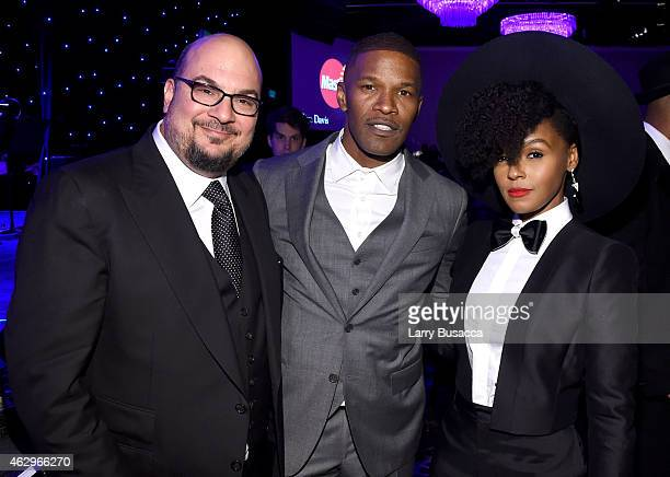 Producer Anthony Zuiker actor Jamie Foxx and singer Janelle Monae attend the PreGRAMMY Gala and Salute To Industry Icons honoring Martin Bandier at...