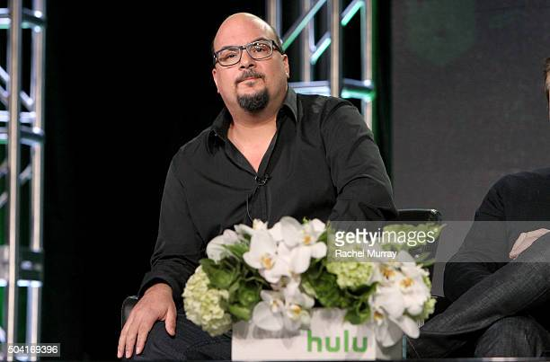 Producer Anthony Zuiker speaks onstage during the Hulu Winter TCA Press Tour 2016 'Great Shows New Audiences' panel at The Langham Huntington Hotel...