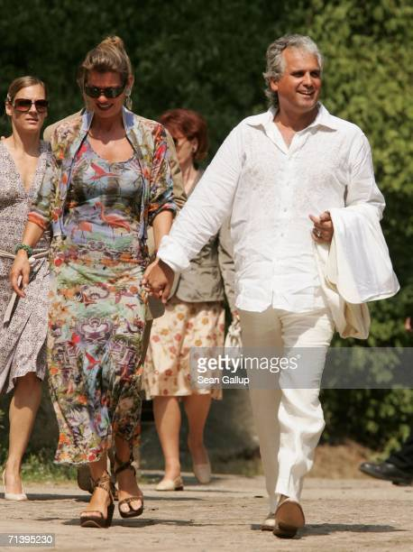 Producer Antonio Geissler and his wife Petra attend the wedding of German TV host Guenther Jauch at the Belvedere Palace on July 7 2006 in Potsdam...